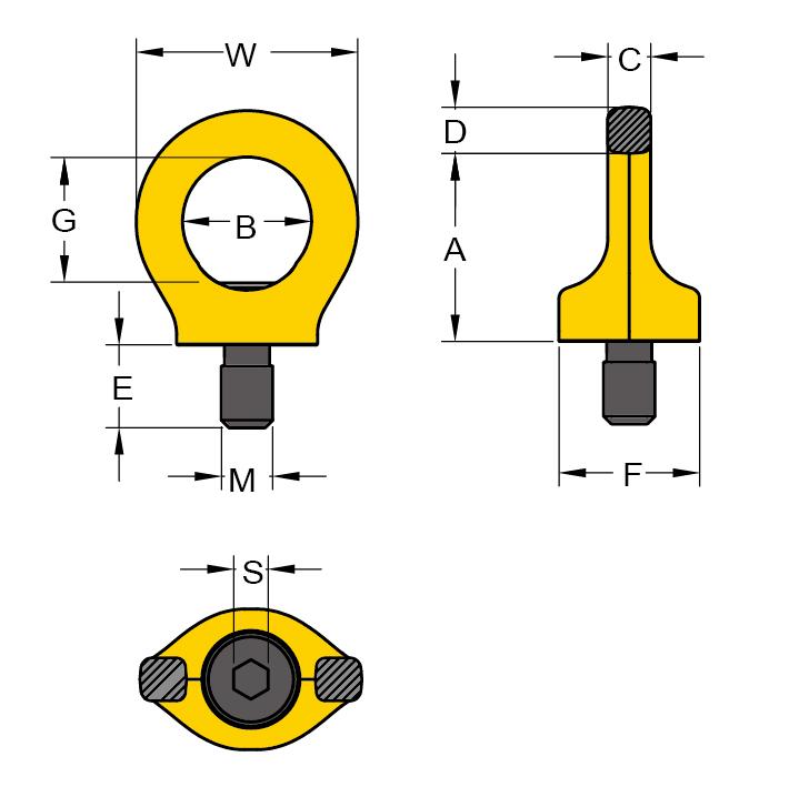Ringschraube YOKE technische Zeichnung